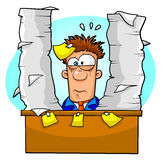 Overwhelmed worker. Worker overwhelmed by lots of paperwork and tasks Royalty Free Stock Image