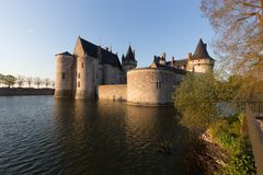 Castle Sully-sur-Loire, France Garden and Lake stock image