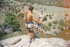 Overwinnend vrees door een sprong van geloof in Sante Fe New Mexico te nemen royalty-vrije stock fotografie