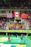 Overwinningsceremonie van rio2016-vrouwen trampolene Stock Afbeelding