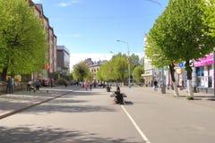 Overwinningsstraat Sovetskstad, Kaliningrad-gebied stock fotografie