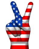 Overwinningssymbool en Amerikaanse vlag op menselijke hand Het verstand van de V-vormhand Royalty-vrije Stock Afbeelding