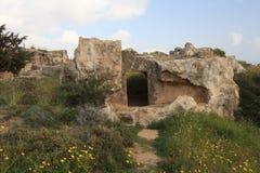 Overwoekerd met grasruïnes aan de Graven van de Koningen Paphos CYP royalty-vrije stock afbeeldingen