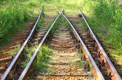 Overwoekerde oude spoorweg stock foto