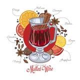 Overwogen wijn in het glas en componenten op een witte achtergrond Stock Fotografie