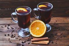 Overwogen wijn met sinaasappel Royalty-vrije Stock Afbeelding