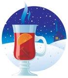 Overwogen wijn op de de winterachtergrond royalty-vrije illustratie