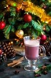 Overwoog de zoete hete de alcoholdrank van de Kerstmiswinter rode wijnglintwi Royalty-vrije Stock Afbeeldingen