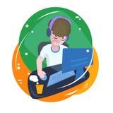 overwork Работы фрилансера вечером Стресс Наркомания интернета deadline иллюстрация вектора