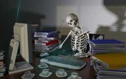 Overwork death. At office, 3d rendering Stock Photo