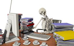 Overwork death. At office, 3d rendering Royalty Free Stock Images