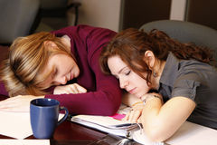 Overworked. Two tired employees take a nap / break stock photography