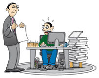Overworked. Illustration of an overworked employee and his supervisor who is pointing at a document Stock Photo