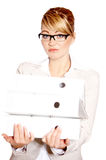 Overworked beautiful business woman Royalty Free Stock Photography