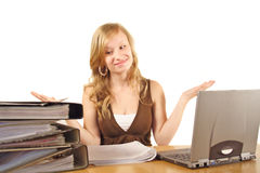 Overworked blond woman royalty free stock image
