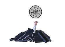 Overworked Buried Folders Working Around Clock Illustration. Overworked office worker buried under mountain of document folders Royalty Free Stock Photo