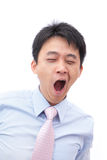 Overworked business man yawn with black eye. Overworked business man yawn with black rim of eye isolated on white background, model is a asian people royalty free stock image