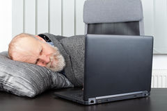 Overworked businessman. Picture of an overworked businessman sleeping at the office Stock Images