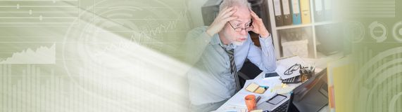Overworked businessman sitting at a messy desk, light effect. panoramic banner. Overworked businessman sitting at a messy desk in office, light effect. panoramic stock images