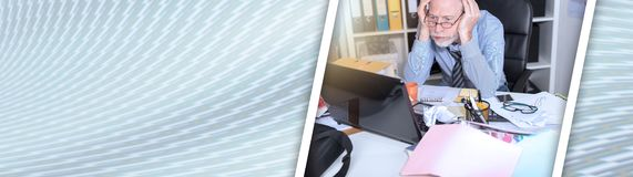 Overworked businessman sitting at a messy desk, light effect. panoramic banner. Overworked businessman sitting at a messy desk in office, light effect. panoramic royalty free stock image