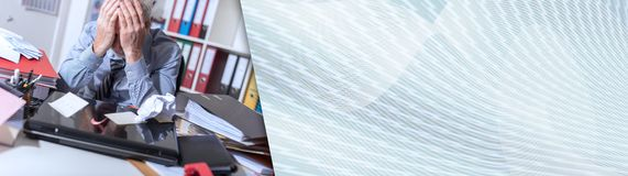 Overworked businessman sitting at a messy desk. panoramic banner. Overworked businessman sitting at a messy desk in office. panoramic banner royalty free stock images