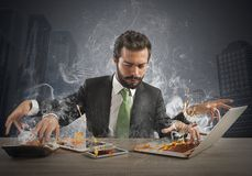 Overworked businessman Stock Image