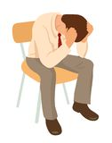 Overworked businessman is under stress with headache. Worried man Stock Photography