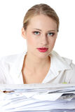 Overworked businesswoman Royalty Free Stock Photos