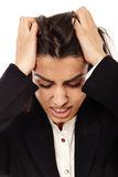 Overworked - businesswoman with strong migraine Royalty Free Stock Photography