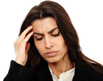 Overworked - businesswoman with strong migraine Stock Image
