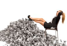 Overworked businesswoman Royalty Free Stock Image