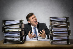 Overworked crying businessman Stock Photography