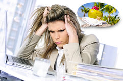 Overworked and dreamer. Young woman stressed at work, taking an aspirin cahet Royalty Free Stock Image