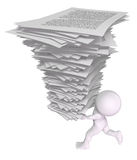 Overworked employee. 3d man running with a stack of papers Royalty Free Stock Images