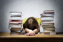 Overworked female student Stock Photos