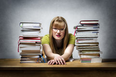 Overworked female student Royalty Free Stock Photo