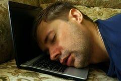Overworked freelancer sleep. Stock Photos