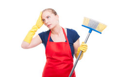 Overworked householder with cleaning broom Stock Photography