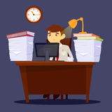 Overworked Man. Exhausted Businessman. Stress at Work Royalty Free Stock Photos