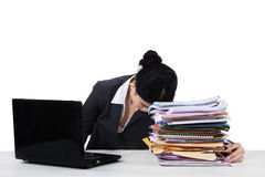 Overworked manager sleeping on document Royalty Free Stock Photos