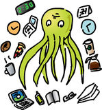Overworked octopus Royalty Free Stock Images