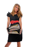 Overworked office worker. Holding a pile of files isolated against a white background stock image