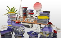 Overworked office worker. Office worker with lot of work to achieve Stock Photography