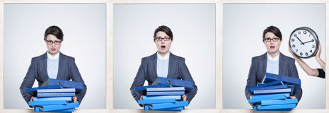 Overworked by paperwork surfeit Stock Photo