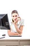 Overworked pretty woman in office Royalty Free Stock Images