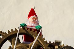 Overworked Santa on duty royalty free stock photography