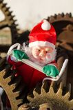 Overworked Santa on duty royalty free stock images