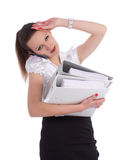 Overworked stressed businesswoman holding office. Folders and talking cellphone Stock Photo