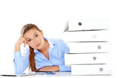 Overworked stressed businesswoman Stock Photo