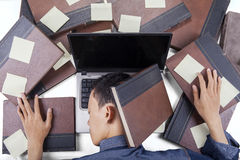 Overworked student sleeping on laptop Stock Image